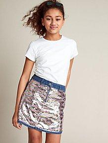 4481e1da37 Light Wash Denim Sequin Front Skirt