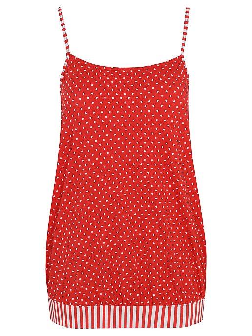 d840488e1 Red Polka Dot Bubble Hem Tankini Top