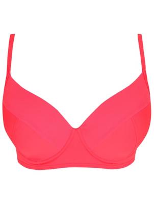 Plus Size Neon Pink Mesh Bikini Top