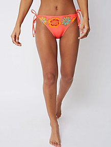 5a7ee3feb9 Coral Beaded Tie Side Bikini Bottoms