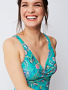 Turquoise Floral Print Twist Front Swimsuit a7924950d