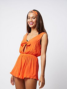 323b4377a8 Orange Knot Front Playsuit Cover Up