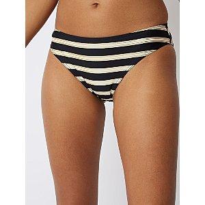 Black Foil Stripe High Leg Bikini Bottoms