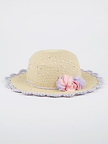 Floral Corsage Scalloped Sequin Floppy Hat a5a1b89af5ff