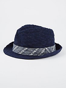 7218097a007 Navy Woven Trilby Hat