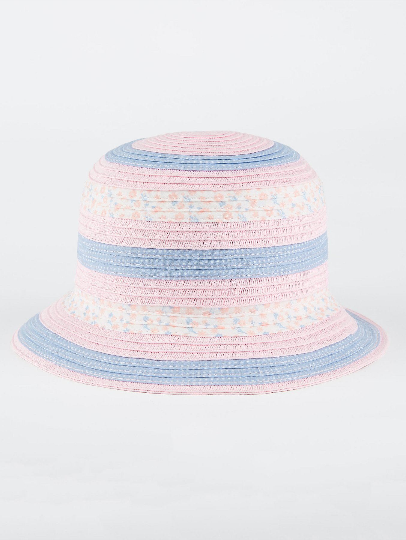 Pink Floral Striped Woven Bucket Hat. Reset 1459f6c0a56