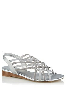 0940f6571e01 Silver Elastic Caged Sandals