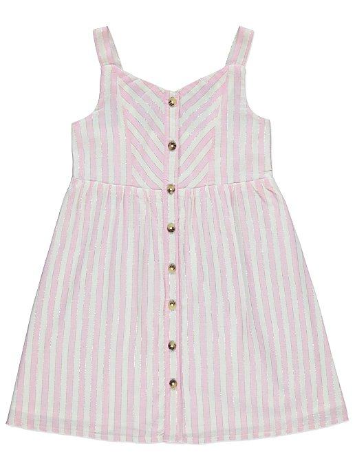 3d27d09af1ec08 Pink Shimmering Striped Button Down Dress