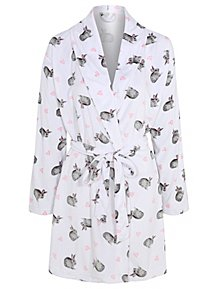 dfd9fce2c8 White Bunny Rabbit Print Fleece Dressing Gown