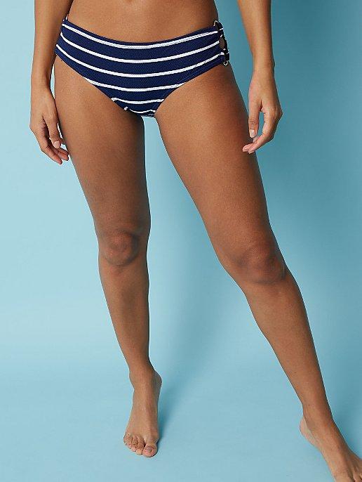 294e8e7e5fc9a Navy Stripe Textured High Leg Bikini Bottoms