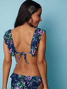 ea77a8eee76 Navy Floral Frill Trim Triangle Bikini Top