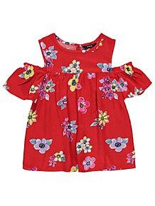 3ba52cff3f797 Red Floral Cold Shoulder Top