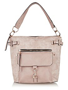Pink Distressed Faux Leather Hobo Bag