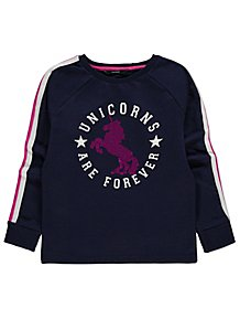 468b830a Navy Swipe Sequin Unicorn Long Sleeve Sweatshirt