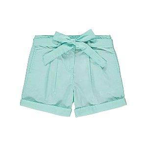 Aqua Blue Tie Detail Woven Shorts