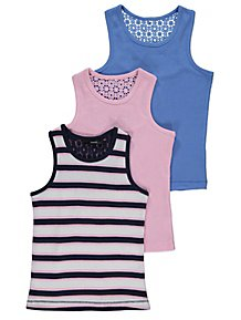 1504c3f34229d4 Assorted Ribbed Crochet Vests 3 Pack
