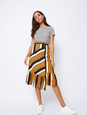Frill Bottom Striped Midi Skirt