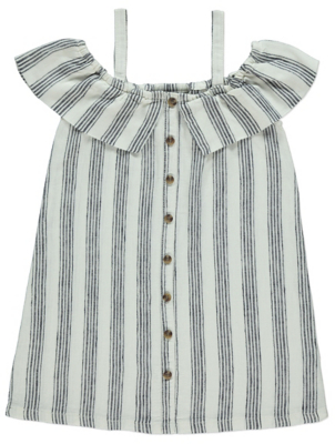 White Striped Linen Blend Cold Shoulder Dress