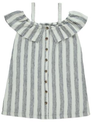 White Striped Linen Blend Cold Shoulder Dress
