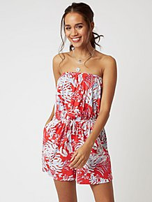 4df2553675b1 Red Tropical Print Jersey Bardot Playsuit