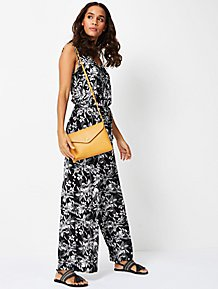 1985b77fd477 Black Floral Print Sleeveless Jumpsuit