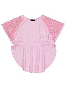 Pink Jumbo Sequin Shoulder Kaftan Top 1622b5ac3