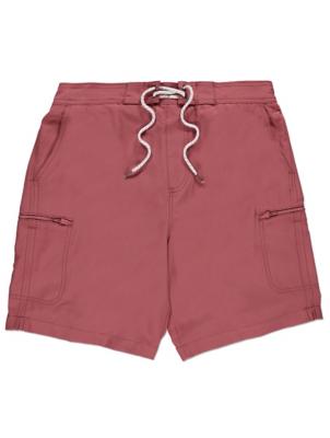 Dark Pink Zip Pockets Swim Shorts