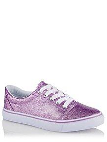 7e8b187e7a70 Purple Glitter Canvas Trainers