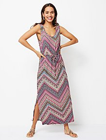 Purple Printed Sleeveless Jersey Maxi Dress