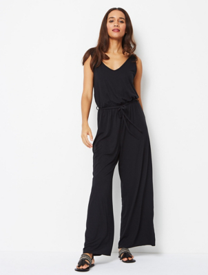 Black Jersey Sleeveless Jumpsuit