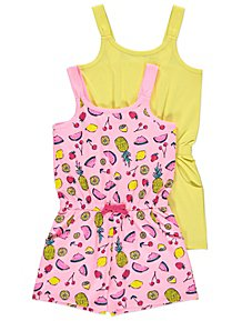 2aba65ea8880a Tropical Fruit Print Jersey Playsuits 2 Pack
