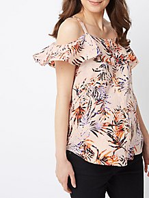3a65a76d6a8 Maternity Pink Palm Print Cold Shoulder Top