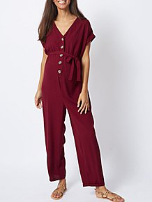 352208e6b36 Maternity Burgundy Button-Front V-Neck Jumpsuit