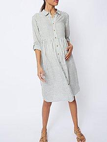 b90a224e1 Maternity Green Stripe Lightweight Shirt Dress