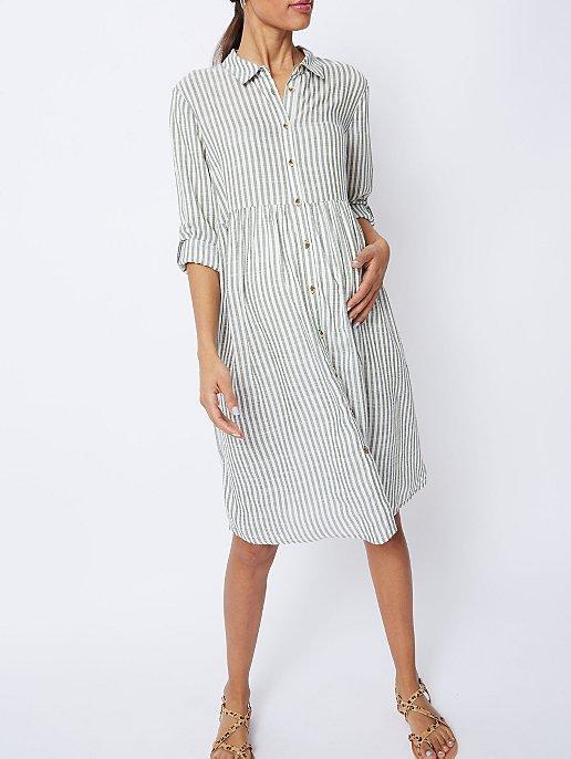befbca3c379e8 Maternity Green Stripe Lightweight Shirt Dress | Women | George