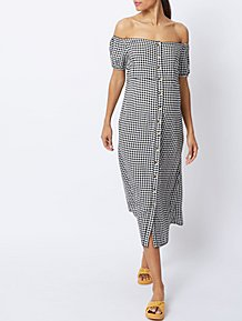 fce50f41831 Maternity Black Gingham Bardot Midi Dress