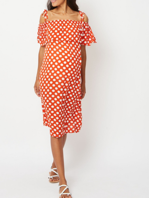 Maternity Red Polka Dot Cold Shoulder Midi Dress