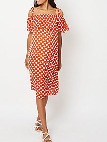 8cbb34373ad90 Maternity Red Polka Dot Cold Shoulder Midi Dress