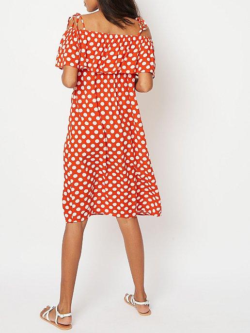 b92a0de781ebe Maternity Red Polka Dot Cold Shoulder Midi Dress | Women | George