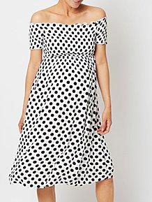 0a45239ce Maternity White Polka Dot Bandeau Midi Dress