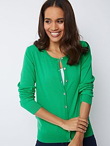 4677ef325b Green Button-Down Crew Neck Cardigan
