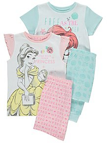 cc0d810614e84 Disney Princess Short Sleeve Pyjamas 2 Pack