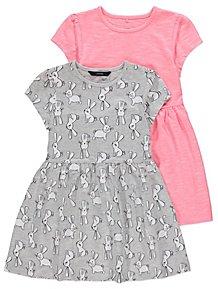 b09b7045c98 Assorted Bunny Print Jersey Dresses 2 Pack