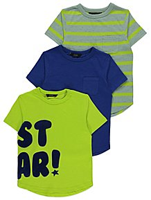 Star Flock Slogan T Shirts 3 Pack