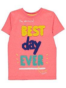 Neon Pink Boucle Slogan Short Sleeve T-Shirt c5d47973f