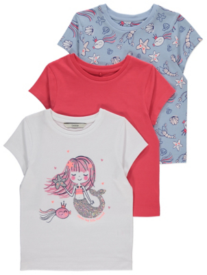 Mermaid Printed Short Sleeve T-Shirts 3 Pack