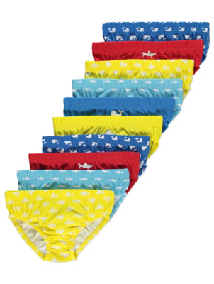 Shark Print Colourful Briefs 10 Pack