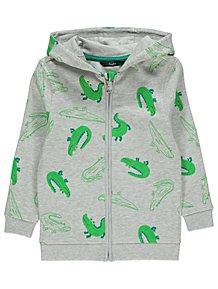 2196473ab11 Grey Crocodile Print Zip-Up Hoodie