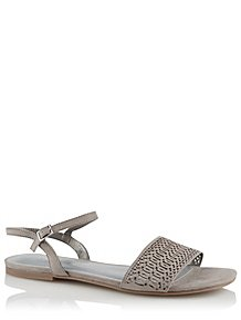 b7bc03394 Grey Embellished Laser Cut Ankle Strap Sandals