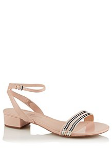 8abc70496589 Pink Striped Toe Heeled Sandals